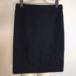 NWOT J Crew Blue Embroidered No 2 Pencil Skirt
